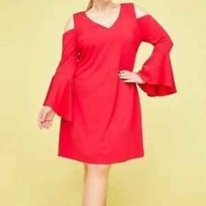 Lane Bryant NEW Red Cold Shoulder Dress